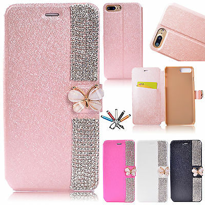 For iPhone 6s 7 7 Plus Bling Magnetic Flip Leather Stand Wallet Card Case Cover