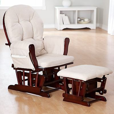 Baby Nursery Rocking Chair Glider & Ottoman Set Nursery Furniture (Cherry/Beige)