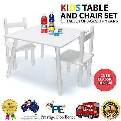 White Wooden Art Craft Table and 2 Chairs Set for Kids Children Toddler Activity