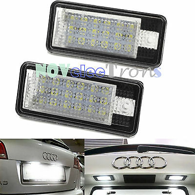 2 × AUDI License Number Plate Rear LED Light Lamp A6 C6 S6 A4 S4 B6 B7 A8 S8 A3