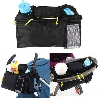 Baby Stroller Organizer Bottle Cup Bag Stroller Accessories Pram Bag Black FW