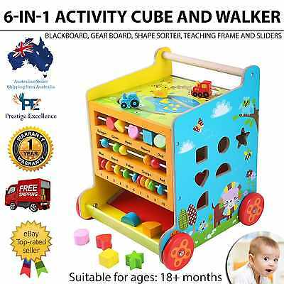 Baby Toddler Learning and Teaching 6 In 1 Activity Cube Walker Blackboard Toy