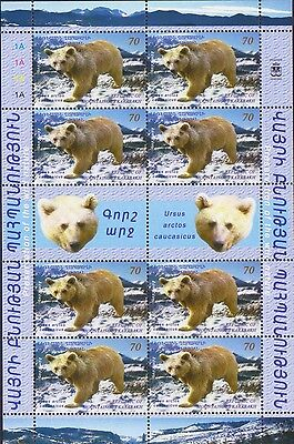 Nagorno Karabakh Fauna Bear Wwf Armenia Sheet Of 8 And 2 Labels Mnh 2009 R17537