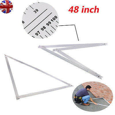"Folding Square 48"" Aluminium Ruler Right Angle Flooring Tiling Builders DIY Tool"