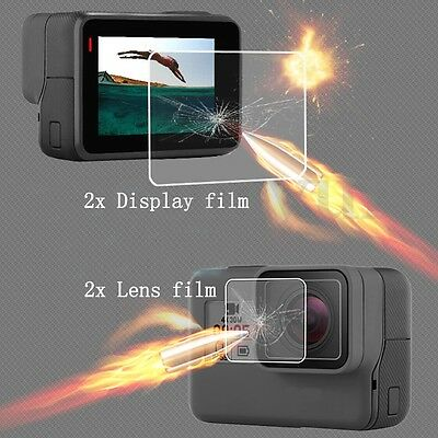 2x LCD Screen + 2x Lens Tempered Film Protector For GoPro Hero 5 Sport Camera UK
