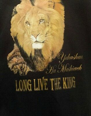 "Our Lion of Judah ""Yahushua Ha Mashiach"" gold fringes with ribbon of blue 2XL"