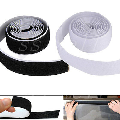 1M/3ft 2 Roll Self Adhesive Hook Loop Tape Fastener Strong Sticky