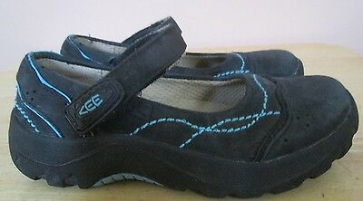 Keen BLACK TURQUOISE Mary Jane Suede Shoes Youth Girls Sz 12  - VERY GOOD