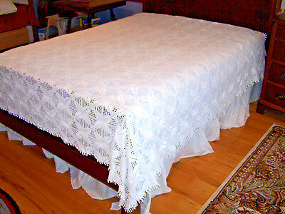 """Spectacular Vintage Hand Crocheted Bedspread, Coverlet, 98"""" Wide, Gorgeous! 1930"""