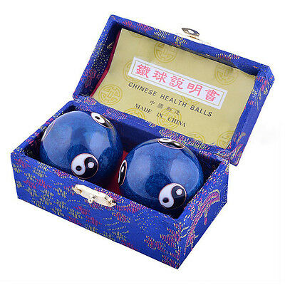 Chinese Health Exercise Stress Baoding Balls Blue Color Yin Yang Design with Box