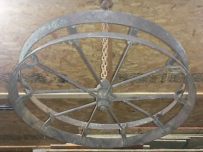Antique Iron Farm Wheel ~Kitchen Hanger/Vintage Industrial / Rustic Chandelier