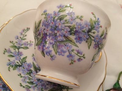 ROYAL VALE 1960s BONE CHINA TRIO SET CUP SAUCER PLATE -FORGET ME NOTS BLUE