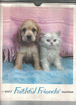 Faithful Friends Calendar 1967.Cats,Dogs,Horses.