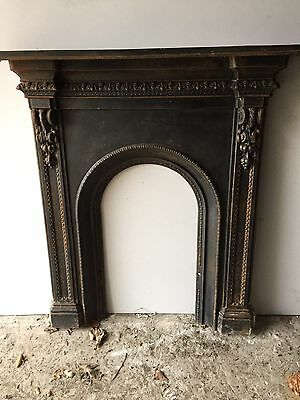 Antique victorian Edwardian Cast Iron Arched fireplace