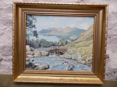 Original Framed Oil Painting Derwentwater & Ashness Bridge Signed Wachtel 94