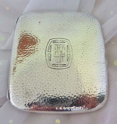 Sterling Silver Cigarette Case Vintage Hammered Arts Crafts Blackinton