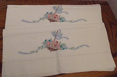 Vintage Pair of Embroidered Pillowcases, Flower Filled Umbrellas