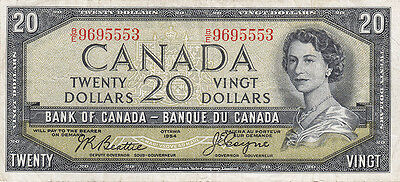 1954 Bank of Canada Devil's Face $20 Bank Note – E F +