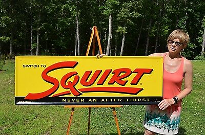 """VINTAGE 50's LG 54"""" COLLECTABLE SQUIRT BOY SODA SIGN MINTY NOS CONDITION"""