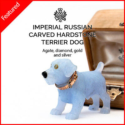 IMPERIAL RUSSIAN TERRIER DOG HARDSTONE - Diamonds, Agate, Gold, Silver - FABERGE
