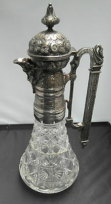 Victorian Cut Glass & Silver Plated Claret Jug, A/f