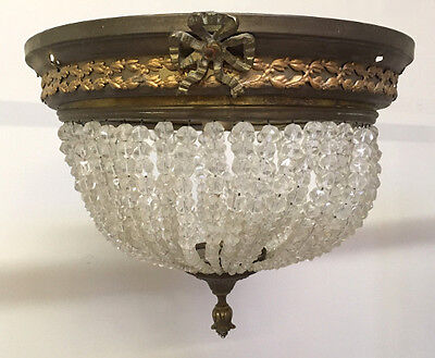 Antique French Ceiling Fitting Brass And  Crystal Lxvi Style Chandelier