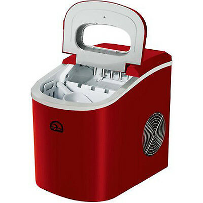 Countertop Ice Maker Portable Compact Red Commercial Restaurant Cube Machine