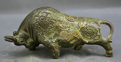 Old Chinese Fengshui Copper Bronze gilt Zodiac Oxen give luck luckiness Statue