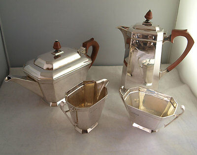 Fine Art Deco Solid Silver 4Pc Tea Set - 1,680g - Sheff. 1946