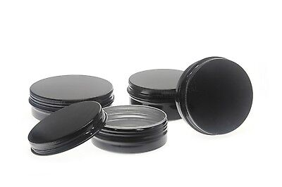 Empty Aluminium Cosmetic Pot Jar Tin Container BLACK Sample lined EPE insert
