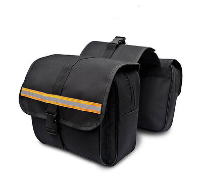 Universal fit Scooter Pannier Luggage Motorcycle Saddle Bags Waterproof Black