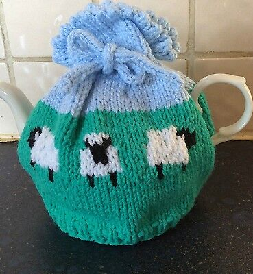 Hand Knit Tea Cosy - Medium - Sheep - Tie Top