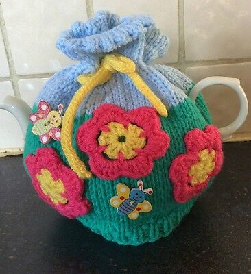 Hand Knit Tea Cosy - Medium - Flower Garden - Tie Top