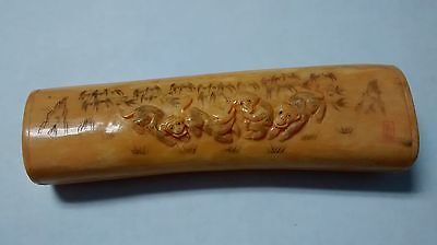 "6"" Vintage Chinese Bone Hand Carved Long Flat Open Loose Treasure Box - Monkey"