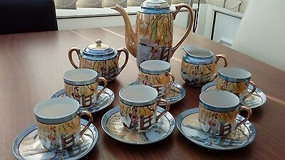 15 piece Japanese hand painted porcelain tea set from 1920's