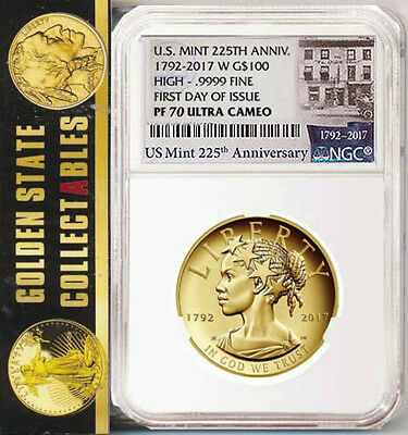 """2017 W Liberty 225th Ann Gold FIRST DAY  NGC PF70UCAM """"MINT"""" LABEL - SOLD OUT"""