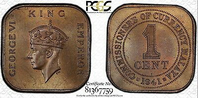 1941-I PCGS MS64BN Malaya One Cent Coin (POP 4 Best Known)