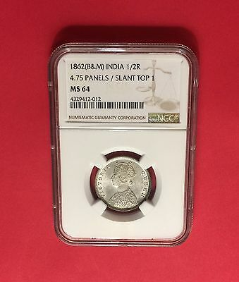India-Rare 1862(B&m) Silver 1/2 Rupee -4.75 Panels/slant Certified By Ngc Ms64.