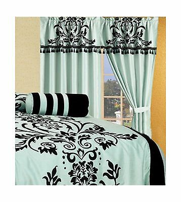 Chezmoi Collection 2-Panel Floral Window Curtain/Drape Set with Valance-Treat...
