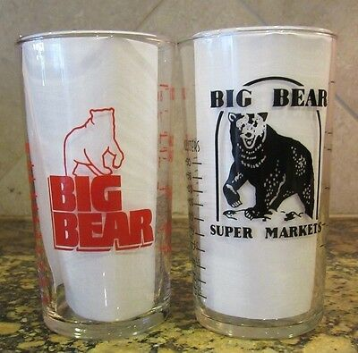 Vintage 1960's BIG BEAR Super Market Advertising Glass Measuring Cup