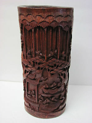 Antique Large Chinese Carved Bamboo Brush Pot 12''