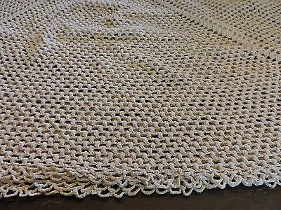 Vintage Handmade Crocheted Tablecloth 1960s Rectangular 40 x 46 Ivory