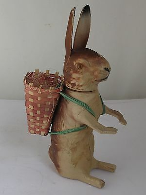"""Antique German  Rabbit Candy Container with Basket10"""" Tall"""