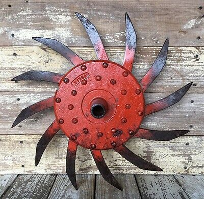 Old Rotary Cast Iron Metal Spike Cultivator Hoe Wheel Vintage Antique Industrial