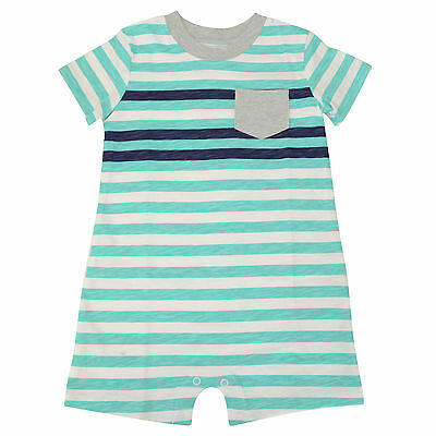 NWT Carters Baby Toddler Boy Stripe Summer Romper 24M in Teal Blue and White