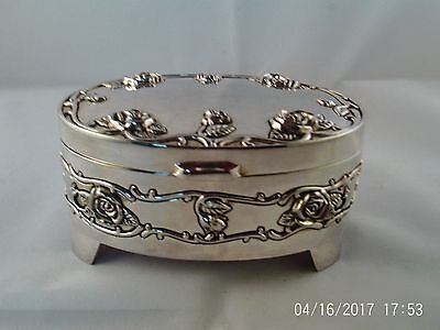 silver plate oval roses ginged box