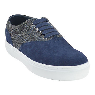 NIB F-Troupe Tweed Suede Lace Up Sneaker Shoes Navy Size 8