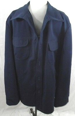 Vintage 1970s Sears Mens Store 44 Leisure Suit Jacket Navy Blue Polyester Lined