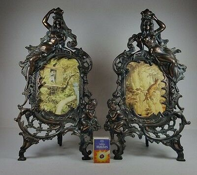 Splendid Ornate Matched Pair Of Late Victorian Spelter Photograph Frames