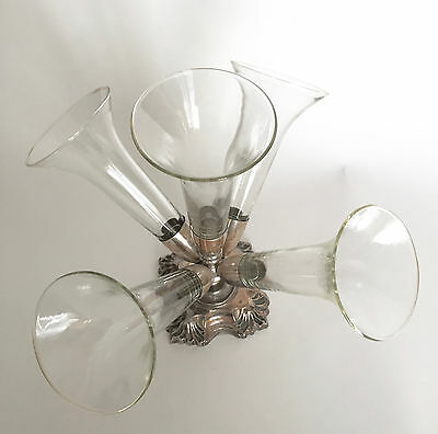 Antique Clear Glass Epergne , Simple & Beautiful Silver Plated Vase Centerpiece